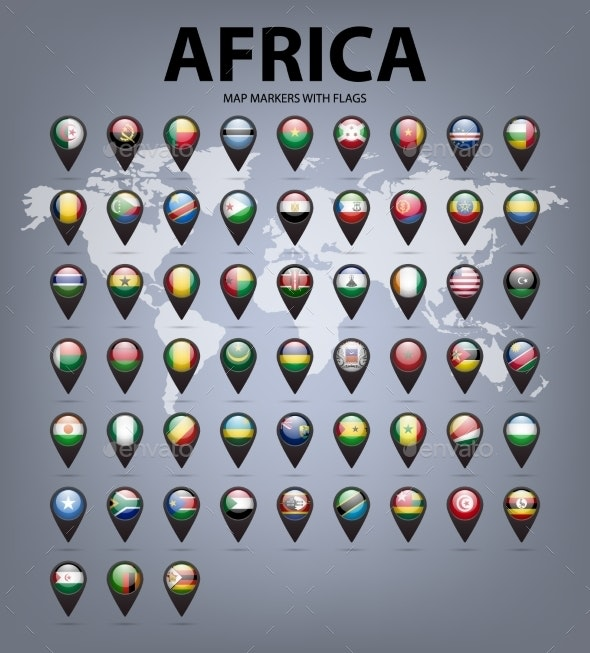 Map Markers With Flags - Africa. Original Colors.  - Web Elements Vectors