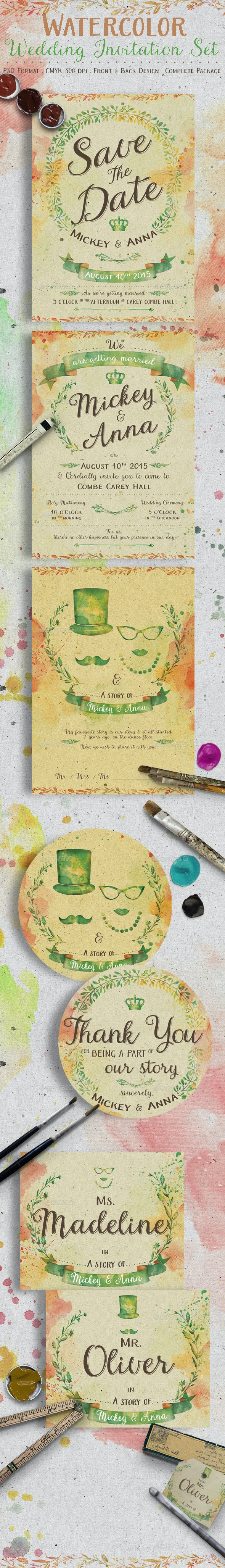 Watercolor Wedding Invitation Set - Weddings Cards & Invites