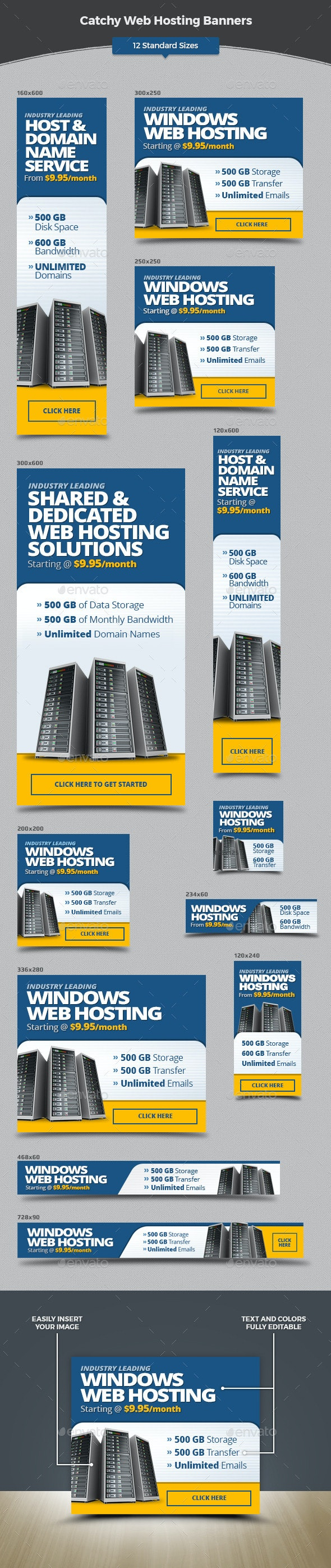 Catchy Web Hosting Banners - Banners & Ads Web Elements