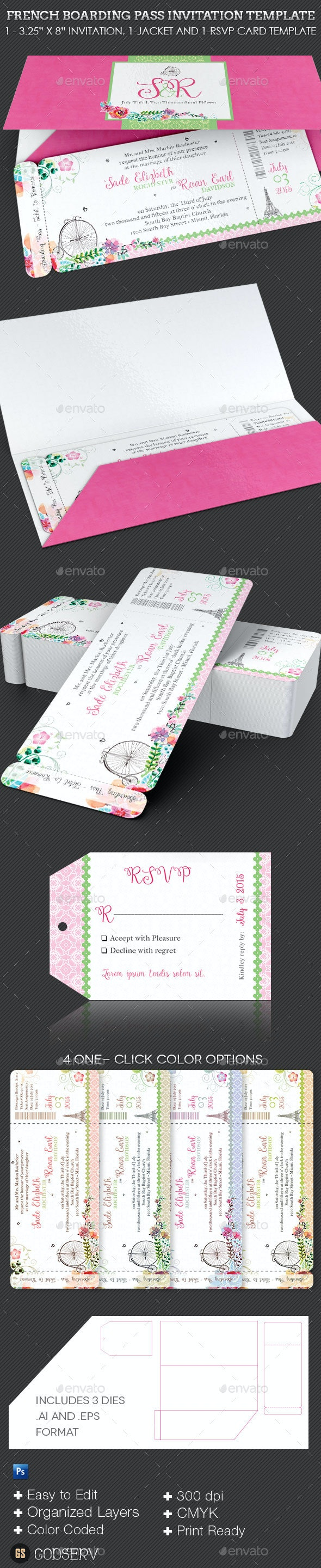 French Wedding Boarding Pass Invitation Template - Weddings Cards & Invites