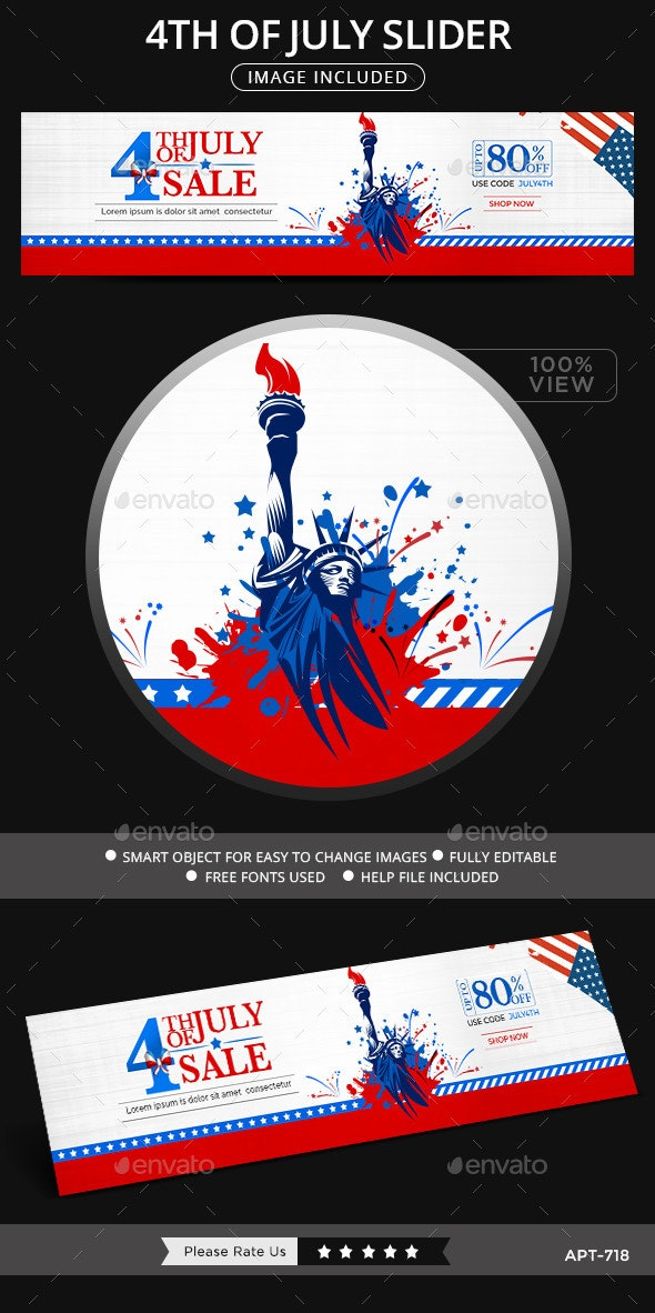 4th of July Sale Slider - Sliders & Features Web Elements
