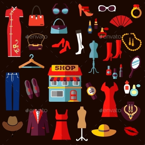 Shopping, Fashion And Beauty Flat Icons - Retail Commercial / Shopping