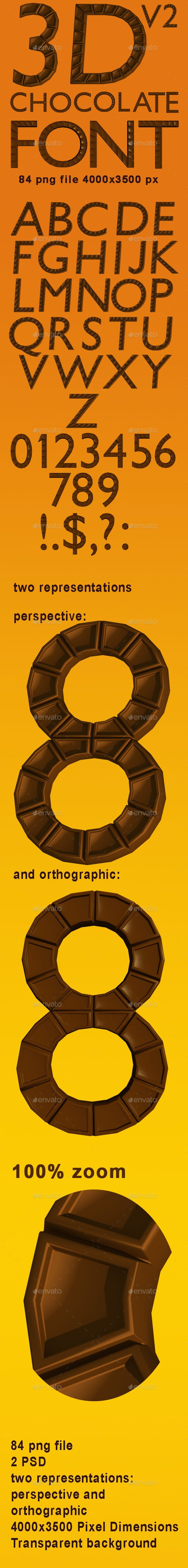 3D Chocolate Font v2 - Text 3D Renders
