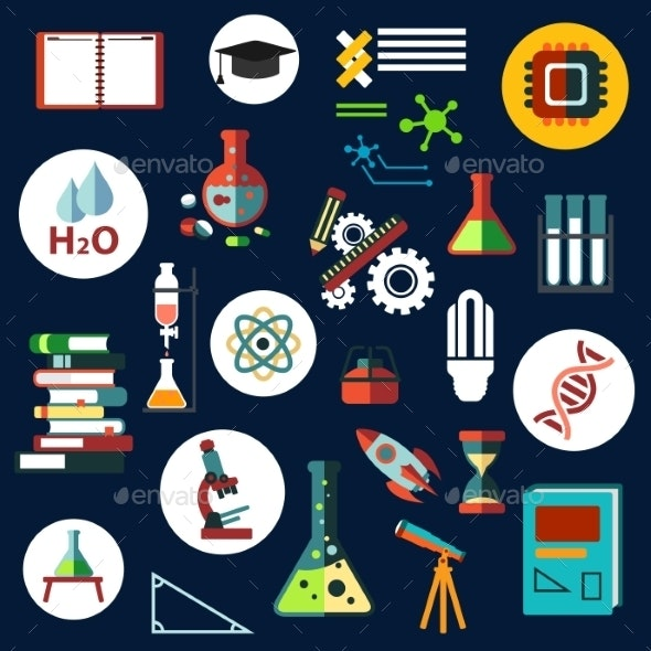 Science Flat Physics And Chemistry Icons - Objects Vectors