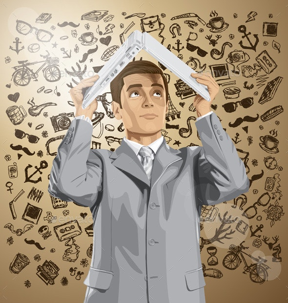 Vector Business Man Hides Under The Laptop - Concepts Business