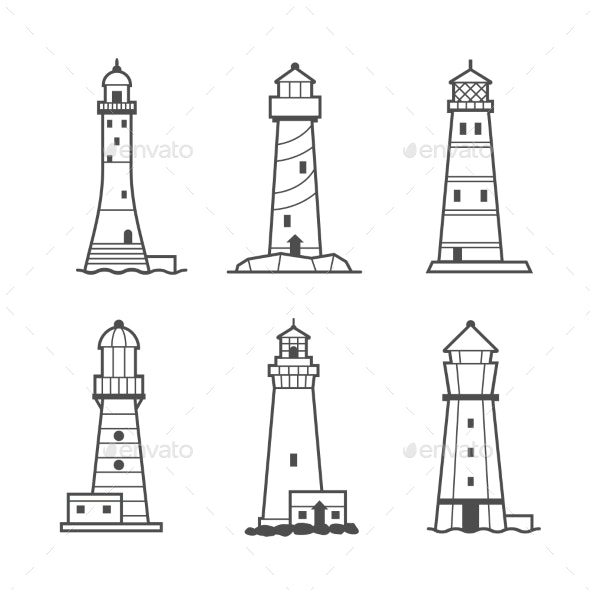 Simple Vector Icon Or Logo Set Of Lighthouses  - Buildings Objects
