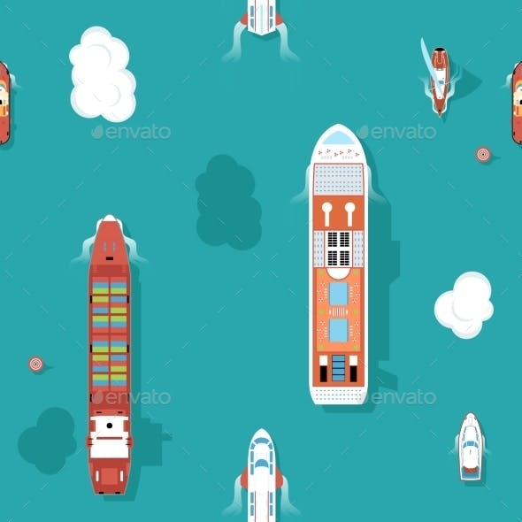 Top View Sea Ships Seamless Background