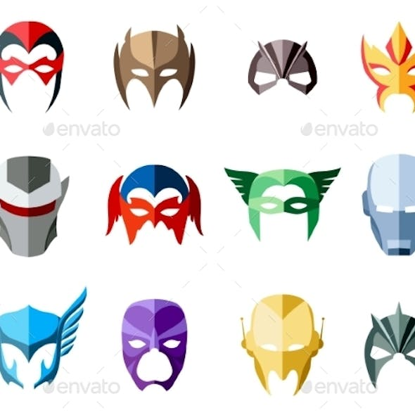 Vector Super Hero Masks For Face Character In Flat