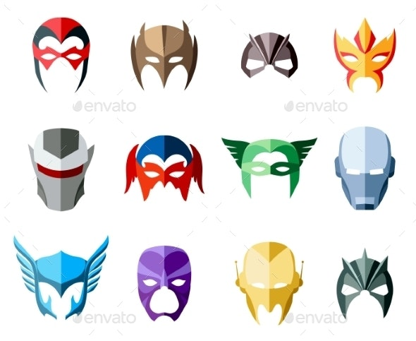 Vector Super Hero Masks For Face Character In Flat - Objects Vectors