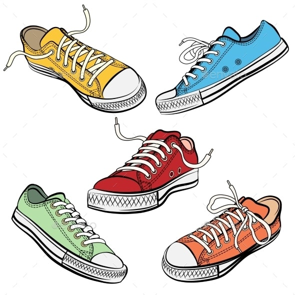 Sport Shoes Or Sneakers Icons In Different Views - Objects Vectors