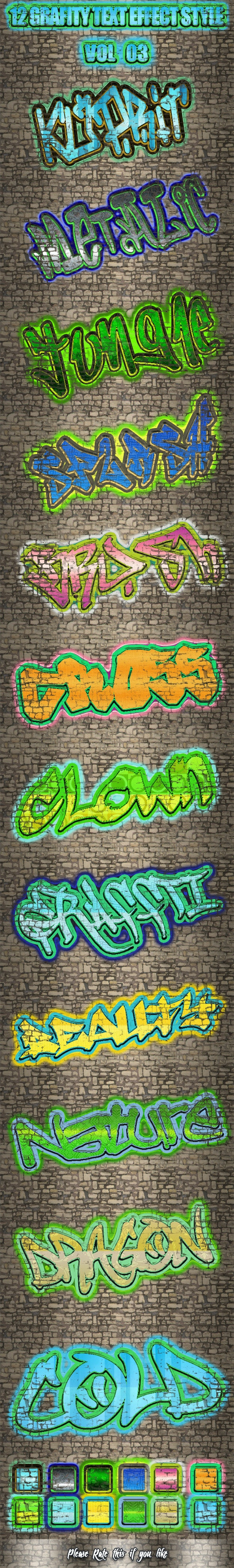 12 Grafity Text Effect Styles Vol 3 - Text Effects Styles