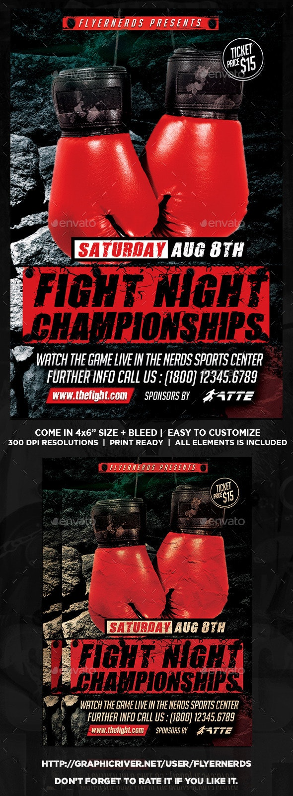 Fight Night Championships Sports Flyer - Sports Events
