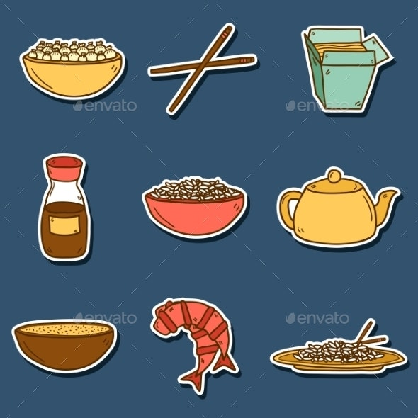 Chinese Cuisine Stickers - Food Objects