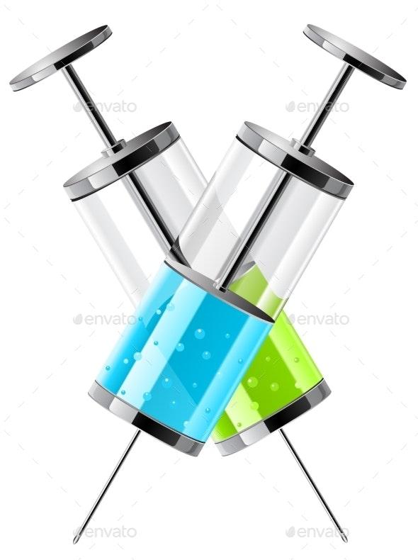 Glass Medical Syringes - Health/Medicine Conceptual