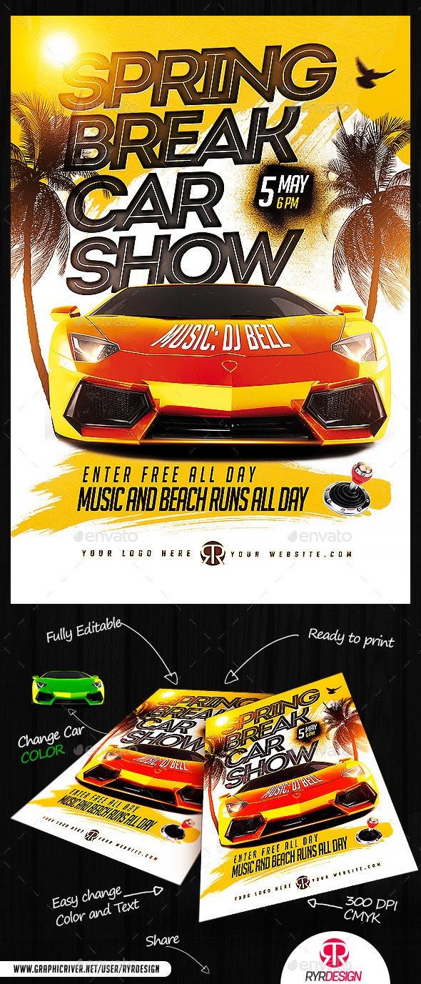 Spring Break Car Show Flyer - Events Flyers