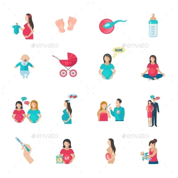 Pregnancy Icons Flat - People Characters