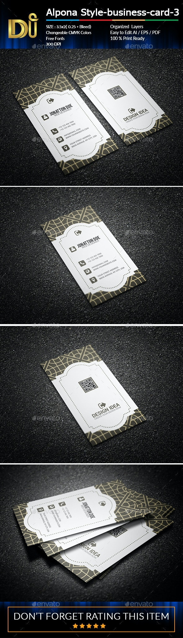 Alpona Style Business card-3 - Business Cards Print Templates