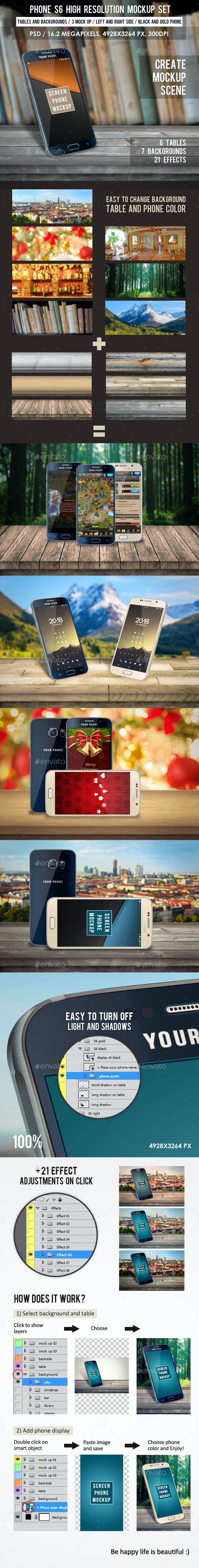 Phone S6 High Resolution Mockup Set  - Mobile Displays