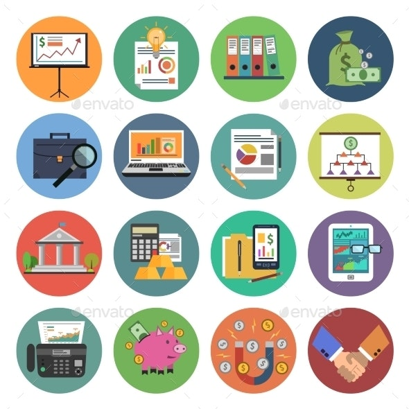 Finance Icon Flat - Business Icons