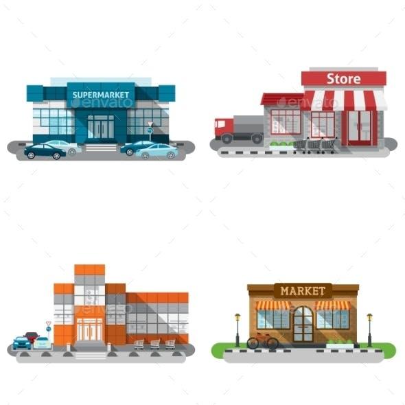 Shop Buildings Icons Set