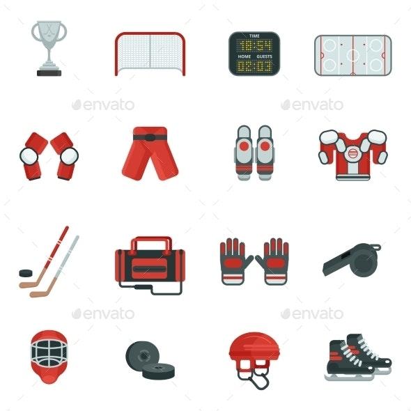 Hockey Decorative Icon Set - Sports/Activity Conceptual
