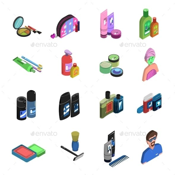 Bodycare Isometric Icon Set