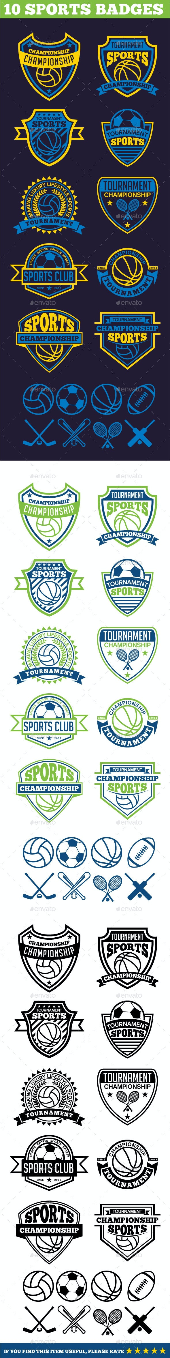 10 Sports Badges - Badges & Stickers Web Elements