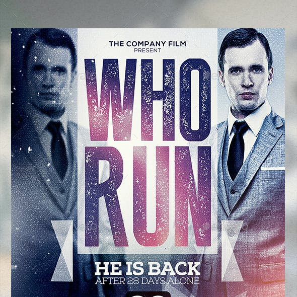 A3 Who Run Poster Film Template
