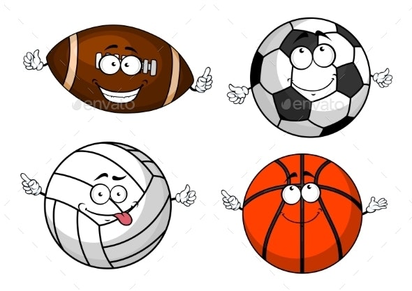 Cartoon Isolated Sport Balls Characters By Vectortradition Graphicriver