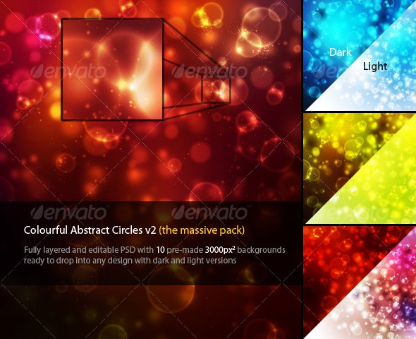 Colourful Abstract Circles v2 - Abstract Backgrounds