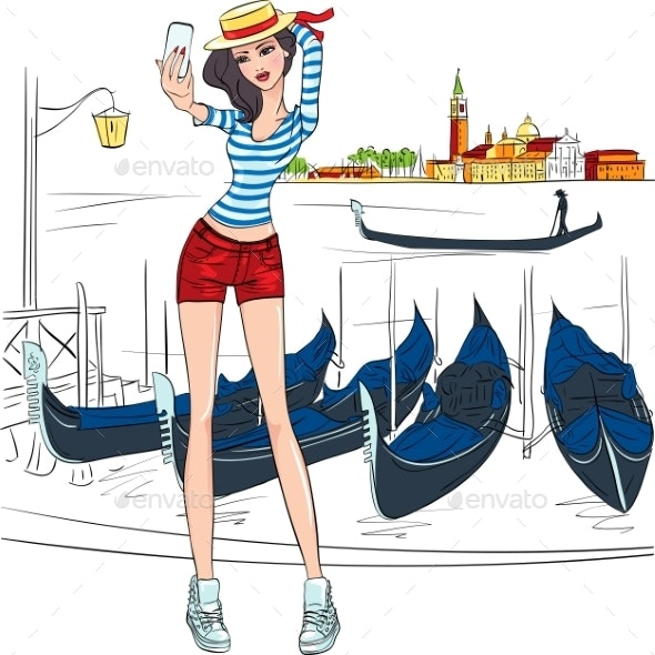 Vector Lovely Fashion Girl  Makes Selfie In Venice - People Characters