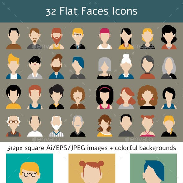 32 Flat Faces Icons