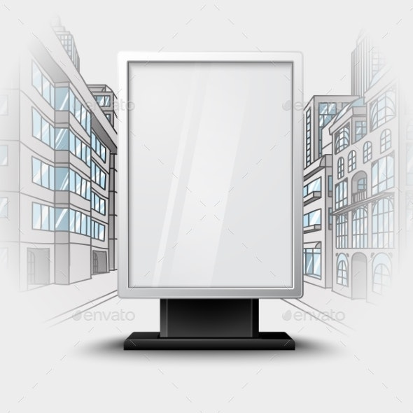 Blank White Vertical Billboard On City Scape - Man-made Objects Objects