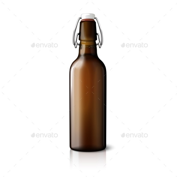 Blank Brown Realistic Retro Beer Bottle Isolated - Man-made Objects Objects