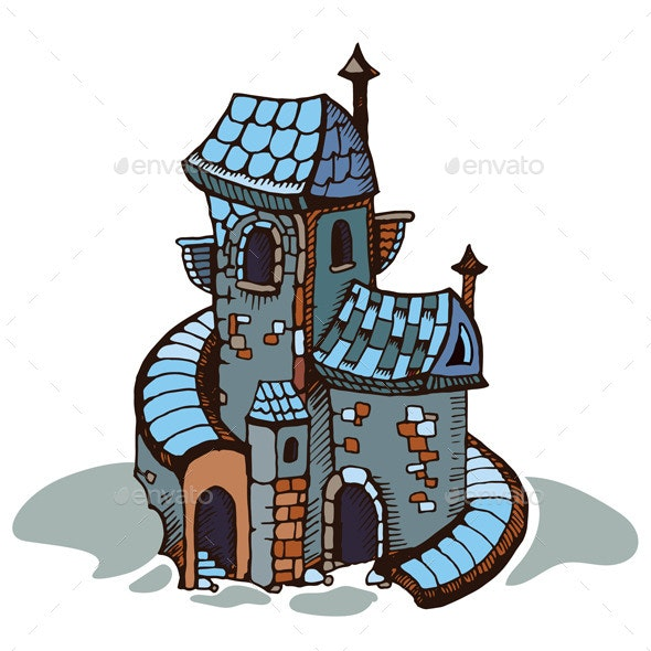 Medieval Castle. Coloring - Buildings Objects