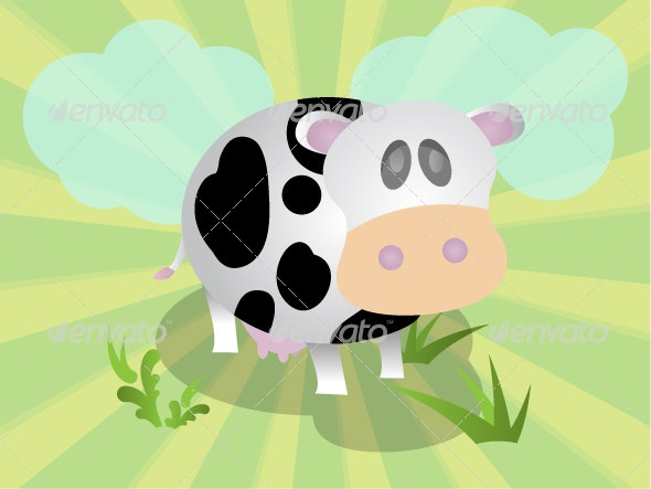 Cartoon Vector Cow in Bright Scene - Animals Characters