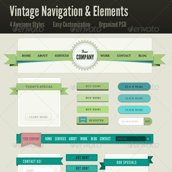 Vintage Navigation & Web Elements