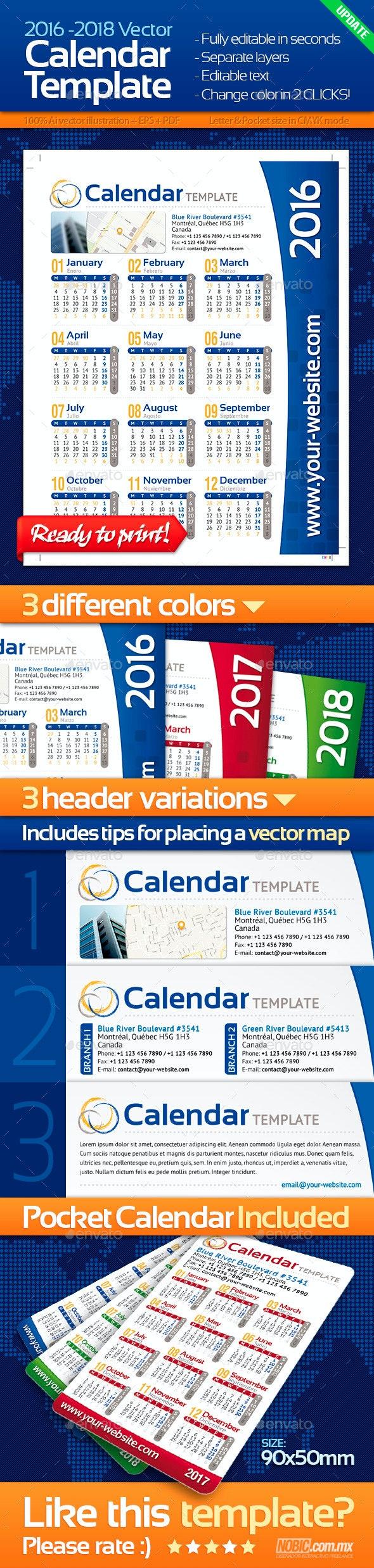 2016, 2017 and 2018 Calendar Template - Calendars Stationery