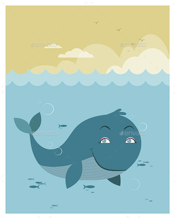 Whale at Sea - Animals Characters