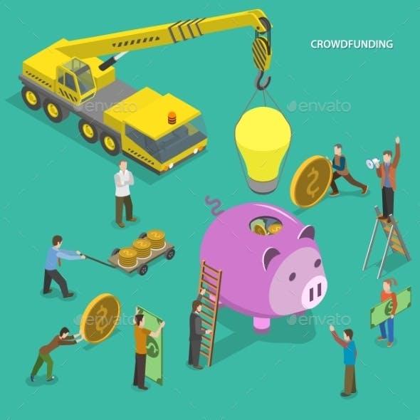 Crowdfunding Flat Isometric Concept