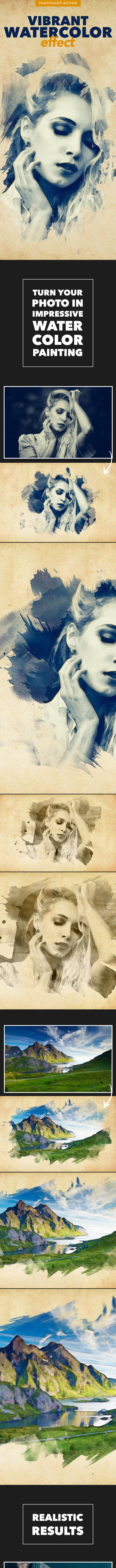Vibrant Watercolor Effect - Photoshop Action - Photo Effects Actions