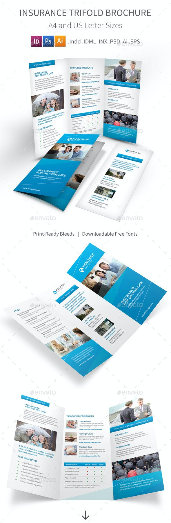Insurance Company Trifold Brochure - Corporate Brochures