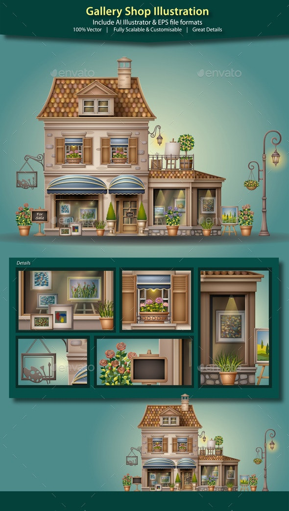 Gallery Shop Illustration - Buildings Objects