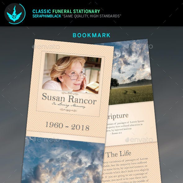 Classic Funeral Program Stationery Template