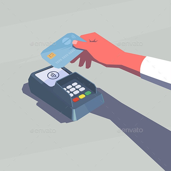 Female Hand Holding Credit Card NFC Technology - Computers Technology