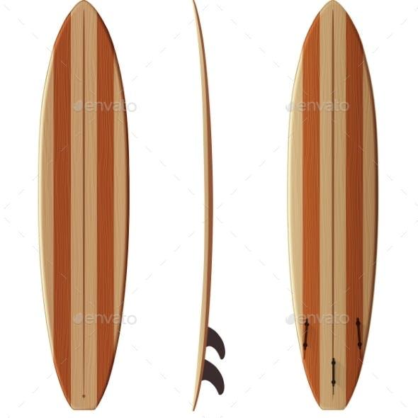 Wooden Retro Vector Malibu Surfing Board
