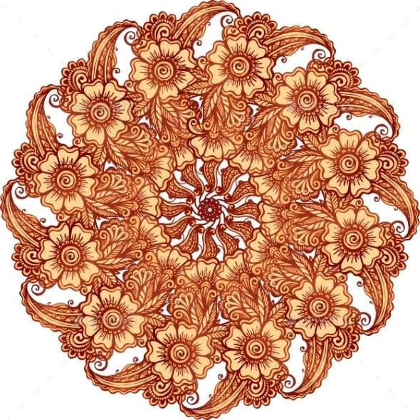 Mehndi Henna Tattoo Style Vector Mandala
