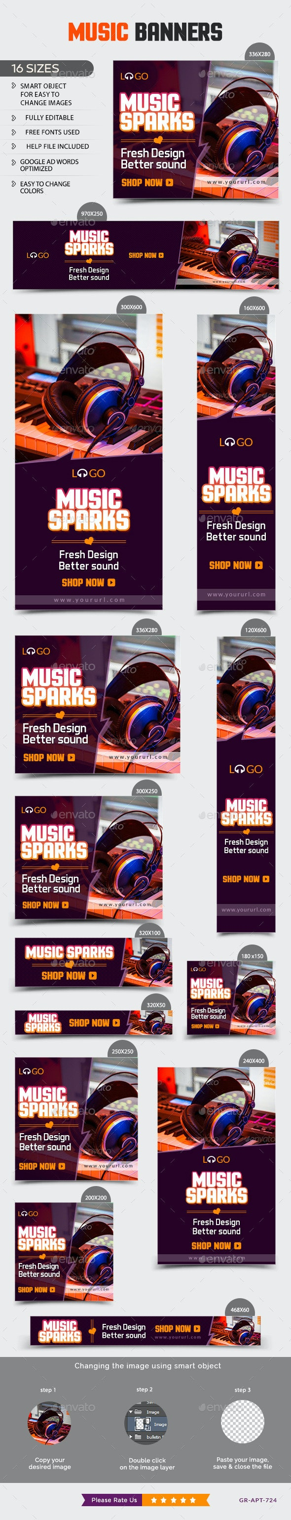 Music Banners - Banners & Ads Web Elements