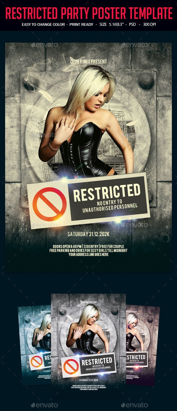 Restricted Party Poster Template - Clubs & Parties Events