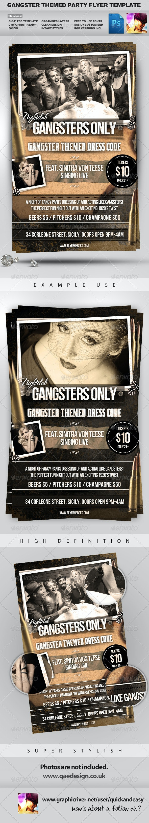 Gangsters Only - Gangster Themed Flyer Template - Clubs & Parties Events